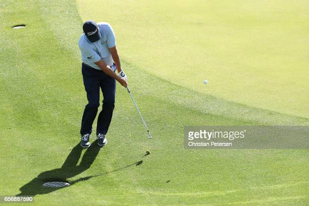 Jason Dufner plays a shot on the 2nd hole of his match during round two of the World Golf Championships-Dell Technologies Match Play at the Austin...
