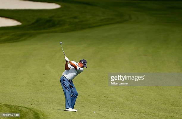 Jason Dufner plays a shot on the ninth fairway during the third round of the Valspar Championship at Innisbrook Resort Copperhead Course on March 14...