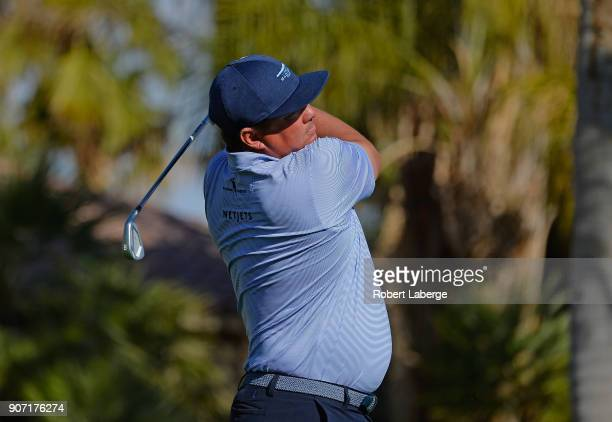 Jason Dufner plays his shot from the 12th tee during the second round of the CareerBuilder Challenge at the Jack Nicklaus Tournament Course at PGA...