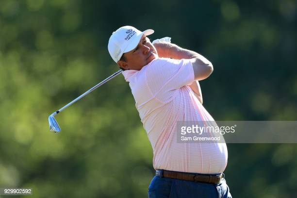 Jason Dufner plays his shot from the 17th tee during the second round of the Valspar Championship at Innisbrook Resort Copperhead Course on March 9...