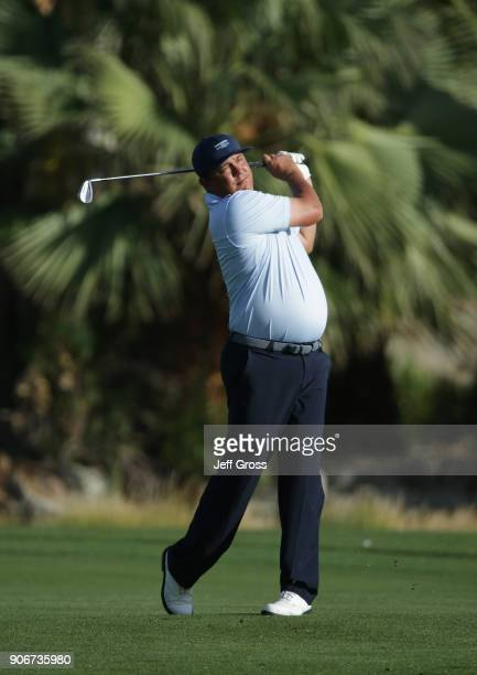 Jason Dufner plays his shot on the 18th hole during the first round of the CareerBuilder Challenge at La Quinta Country Club on January 18 2018 in La...