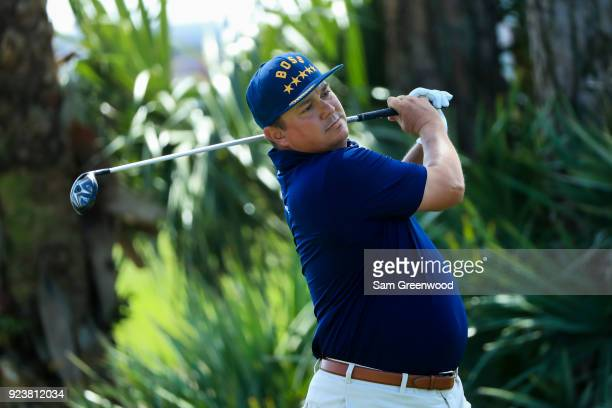 Jason Dufner plays his tee shot on the second hole during the third round of the Honda Classic at PGA National Resort and Spa on February 24 2018 in...