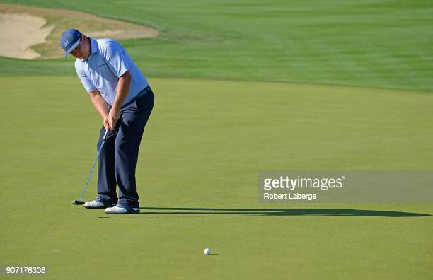 Jason Dufner putts on the 11th hole during the second round of the CareerBuilder Challenge at the Jack Nicklaus Tournament Course at PGA West on...