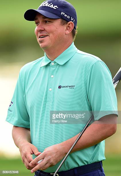 Jason Dufner reacts after making par on the 12th green during the third round of the CareerBuilder Challenge In Partnership With The Clinton...