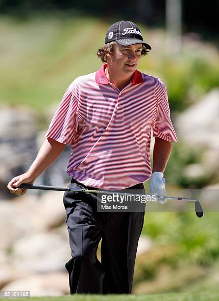 Jason Dufner smiles after a shot from a 9th hole bunker during the third round of the Legends RenoTahoe Open at the Montreux Golf Country Club on...