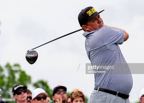 Jason Dufner tees off during the second round of the Memorial Tournament at Muirfield Village Golf Club in Dublin Ohio on June 01 2018