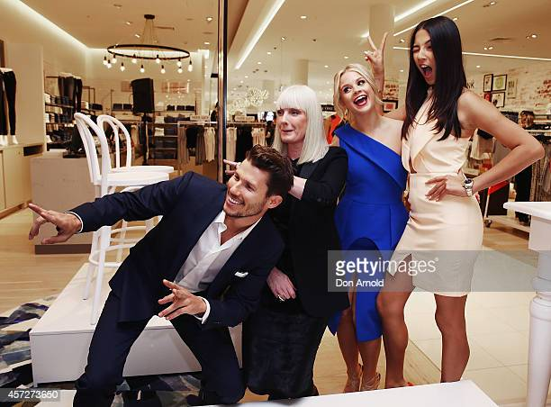 Jason Dundas, Donna Player, Emma Freedman and Jessica Gomes take a store tour during the David Jones Macquarie Store Opening at Macquarie Centre on...