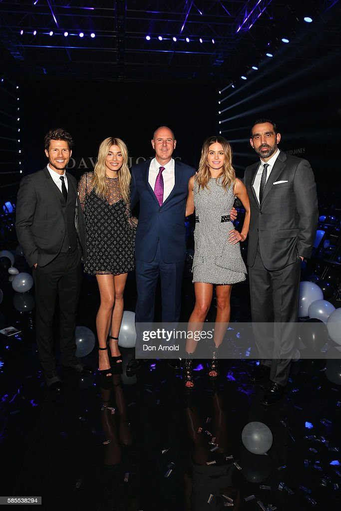 Jason Dundas, Jessica Gomes, John Dixon, Jesinta Campbell and Adam Goodes pose during the After Party following the David Jones Spring/Summer 2016 Fashion Launch at Fox Studios on August 3, 2016 in Sydney, Australia.
