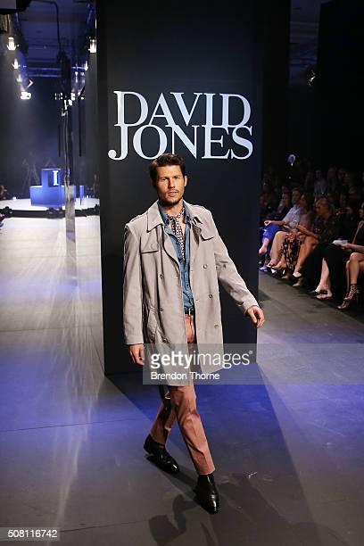 Jason Dundas showcases designs by Calibre on the runway at the David Jones Autumn/Winter 2016 Fashion Launch at David Jones Elizabeth Street Store on...