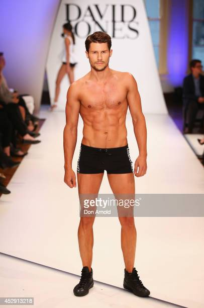 Jason Dundas showcases designs by Jets during a rehearsal ahead of the David Jones Spring/Summer 2014 Collection Launch at David Jones Elizabeth...