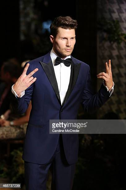 Jason Dundas showcases designs by MJ Bale at the David Jones A/W 2014 Collection Launch at the David Jones Elizabeth Street Store on January 29 2014...