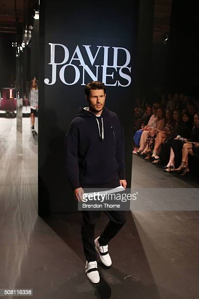 Jason Dundas showcases designs by Strateas Carlucci on the runway at the David Jones Autumn/Winter 2016 Fashion Launch at David Jones Elizabeth...