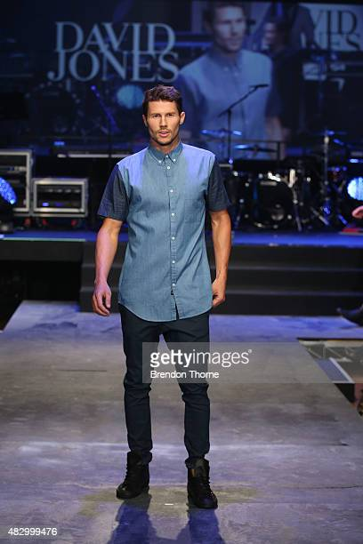 Jason Dundas showcases designs by Zanerobe on the runway at the David Jones Spring/Summer 2015 Fashion Launch at David Jones Elizabeth Street Store...