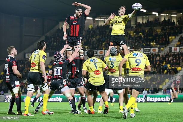 Jason Eaton for La Rochelle catch a line out during the European Rugby Challenge Cup match between La Rochelle and Gloucester at Stade Marcel...