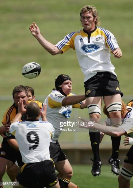 Jason Eaton of the Hurricanes takes a lineout ball during the Super 14 rugby preseason match between the Hurricanes and the Chiefs at the...