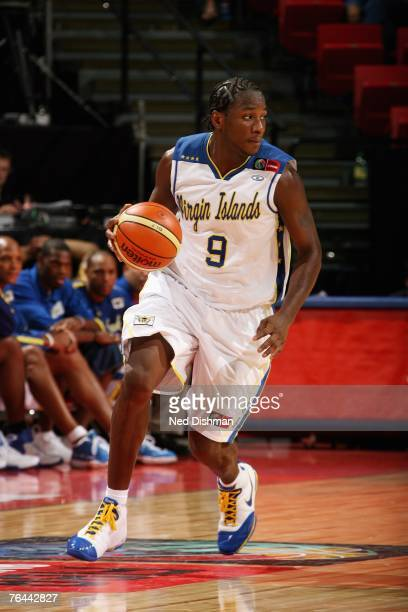 Jason Edwin of the Virgin Islands moves the ball up court during the first round of the 2007 FIBA Americas Championship against Brazil on August 25,...