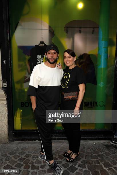Jason Elbaz and Stacy Igel attend the Boy Meets Girl Black Label X Smiley Original as part of Paris Fashion Week on June 23 2018 in Paris France