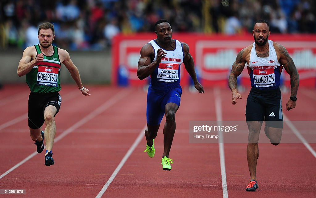 Jason Ellington of Great Britain (R) during the 100 Metres Men's Final during Day Two of the British Championships at Birmingham Alexander Stadium on June 25, 2016 in Birmingham, England.