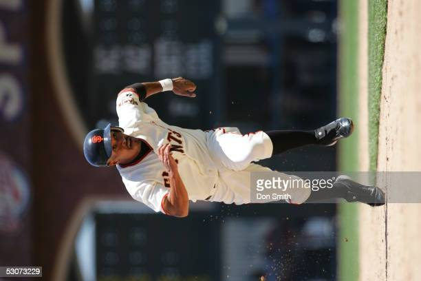 Jason Ellison of the San Francisco Giants during the game against the Cleveland Indians at SBC Park on June 12 2005 in San Francisco California The...