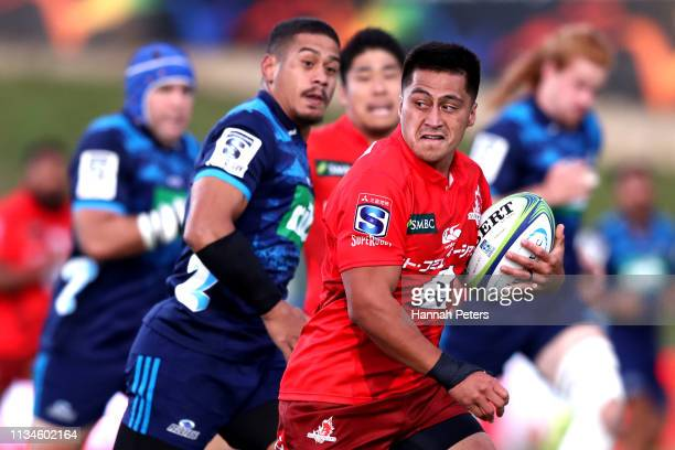 Jason Emery of the Sunwolves makes a break during the round 4 Super Rugby match between the Blues and the Sunwolves at QBE Stadium on March 09 2019...