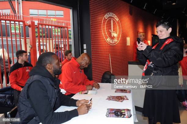 Jason Euell and Richard Rufus signing autographs in the club shop