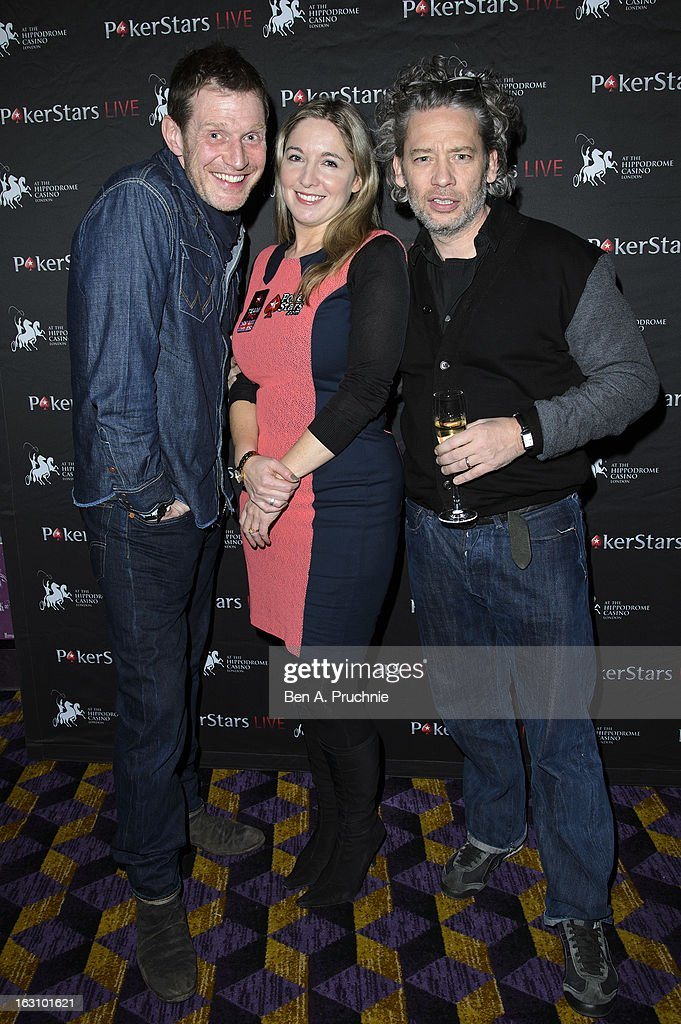 Jason Flemyng, Victoria Coren and Dexter Fletcher attends the launch of The PokerStars LIVE Lounge at The Hippodrome Casino London on March 4, 2013 in London, England