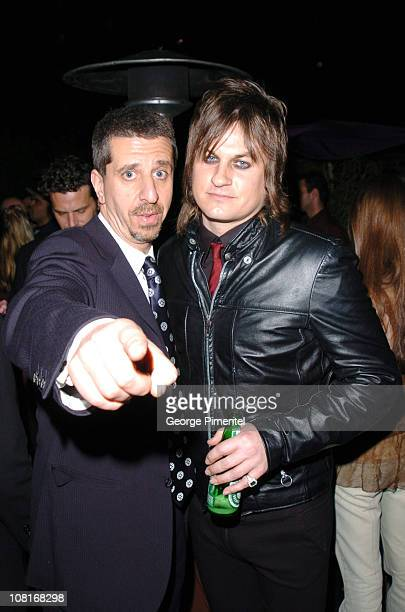 Jason Flom and Jason Hill of Louis XIV during Atlantic Records at Warner Music Group 2005 After GRAMMY Awards Party at Pacific Design Center in Los...