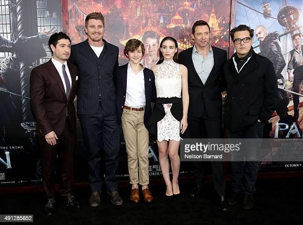 Jason Fuchs Garrett Hedlund Levi Miller Rooney Mara Hugh Jackman and Joe Wright attend 'Pan' premiere at Ziegfeld Theater on October 4 2015 in New...