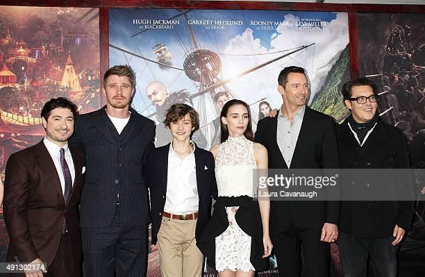 Jason Fuchs Garrett Hedlund Levi Miller Rooney Mara Hugh Jackman and Joe Wright attend the Pan New York Premiere Outside Arrivals at Ziegfeld Theater...