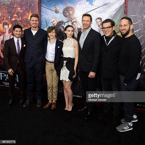 Jason Fuchs Garrett Hedlund Levi Miller Rooney Mara Hugh Jackman Joe Wright and Greg Silverman attend the 'Pan' New York Premiere at Ziegfeld Theater...