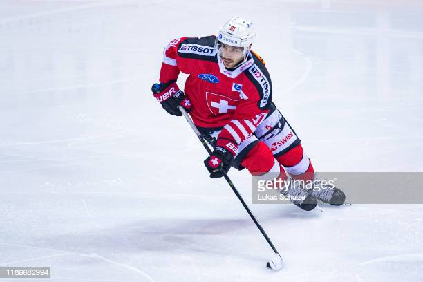 Jason Fuchs of Switzerland in action during the Deutschland Cup 2019 match between Switzerland and Russia at Yayla Arena on November 10 2019 in...