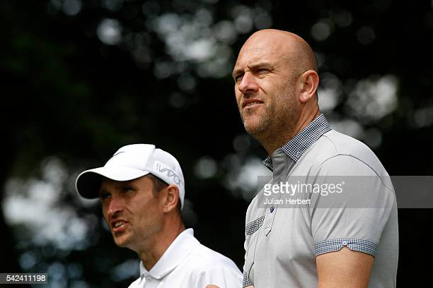 Jason Fullard and Lee Buckingham of Torquay Golf Club watch on a tee during the PGA National ProAm Championship South West Qualifier at Bovey Castle...