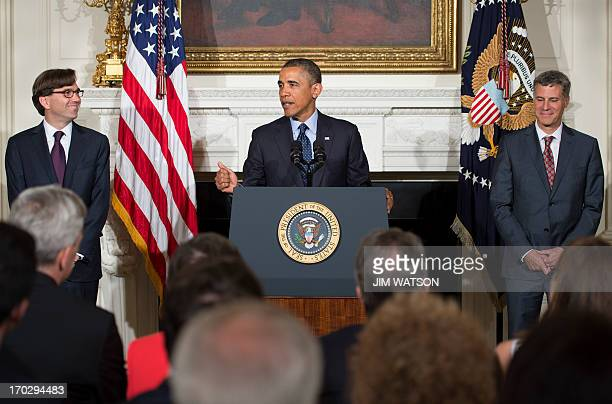Jason Furman a veteran White House economic official smiles as US President Barack Obama nominates him as chairman of the president's Council of...