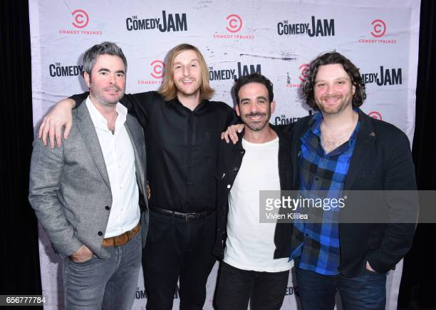 Jason Gallagher Jeremiah Watkins Josh Adam Meyers and Avery Pearson attend The Comedy Jam on Comedy Central Premiere Party at Blvd 3 on March 22 2017...