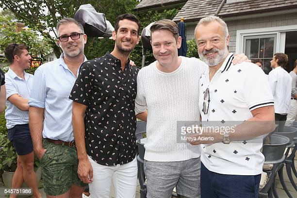 Jason Garcia, Justin Figari, deputy editor at Daily Front Row, Eddie Roche and BAFTA award-winning comedian, Graham Norton attend Daily Front Row's...