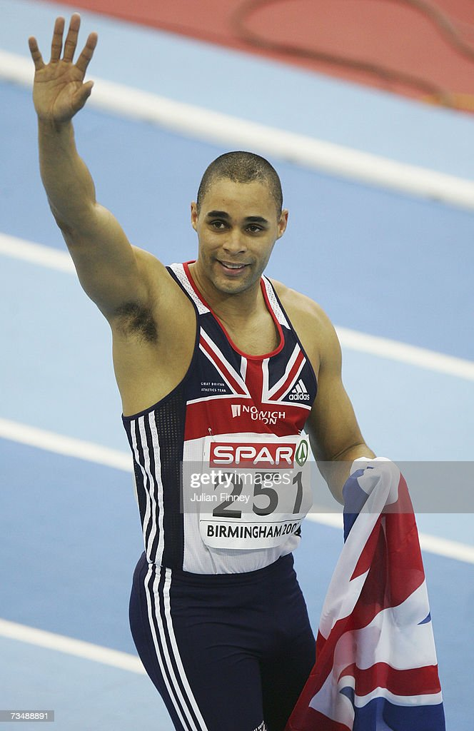 Jason Gardener of Great Britain (251) celebrates as he wins gold following the Men's 60 Metres Final on day three of the 29th European Athletics Indoor Championships at the National Indoor Arena on March 4, 2007 in Birmingham, England.