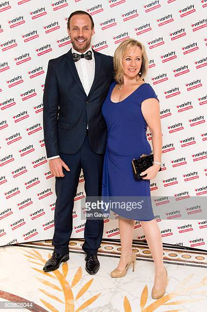 Jason Gardiner and Karen Barber attend a Torvill and Dean tribute lunch in aid of Variety at The Dorchester on January 7 2016 in London England