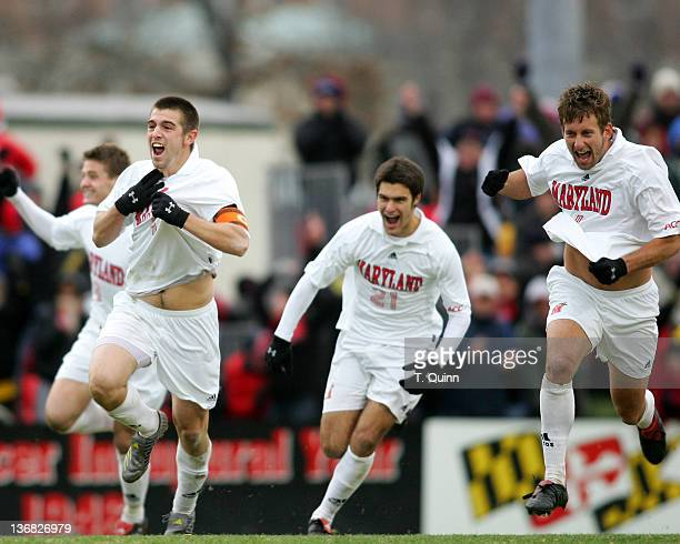 Jason garey#9 Graham Zusi and Chris Lancos#6 race forward after Maryland advance to College Cup with overtime penalty kick victory Maryland survived...