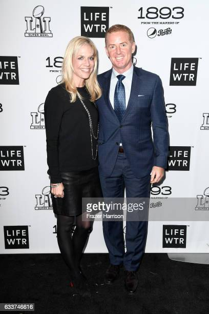 Jason Garrett and his wife Brill Garret tattend LIFEWTR: Art After Dark, including 1893, at Club Nomadic during Super Bowl LI Weekend on February 3,...
