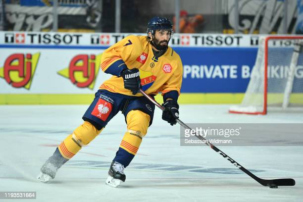 Jason Garrison of Djurgarden Stockholm in action during the Champions Hockey League quarter finals second leg match between EHC Red Bull Muenchen and...