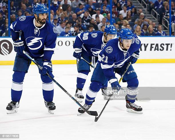 Jason Garrison Vladislav Namestnikov and Brayden Point of the Tampa Bay Lightning skate against the Colorado Avalanche during the second period at...