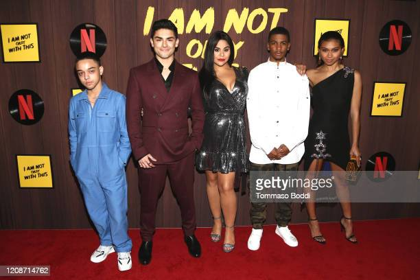 """Jason Genao, Diego Tinoco, Jessica Marie Garcia, Brett Gray and Sierra Capri attend the Netflix's """"I Am Not Okay With This"""" Photocall at The London..."""