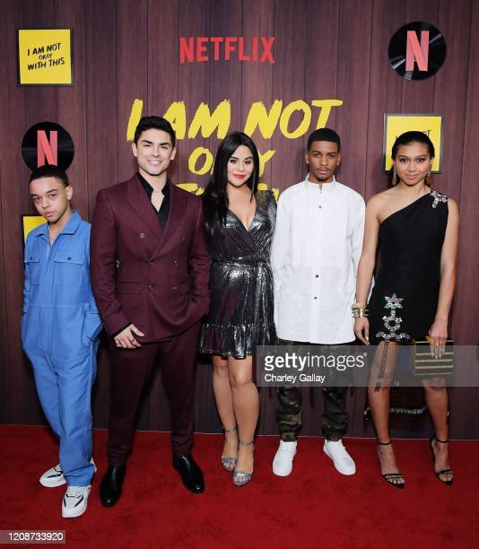 Jason Genao Diego Tinoco Jessica Marie Garcia Brett Gray and Sierra Capri attend the premiere of Netflix's I Am Not Okay With This at The London West...