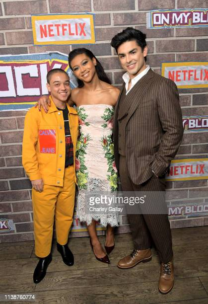 Jason Genao, Sierra Capri and Diego Tinoco attends the 'On My Block' S2 Launch Event at Petty Cash Taqueria on March 27, 2019 in Los Angeles,...