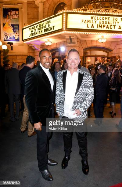 Jason George and Stuart Bell attend Family Equality Council's Impact Awards at The Globe Theatre at Universal Studios on March 17 2018 in Universal...