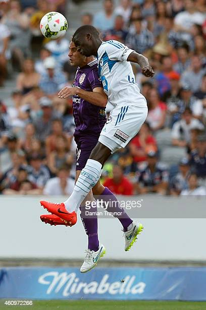 Jason Geria of Melbourne Victory heads the ball during the round 14 ALeague match between the Melbourne Victory and Perth Glory at Simonds Stadium on...