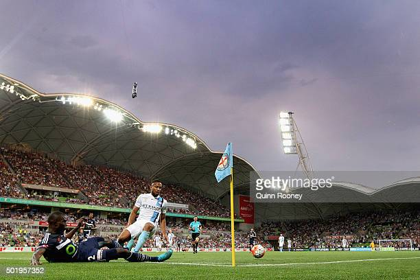 Jason Geria of the Victory and Harry Novillo of the City competes for the ball during the round 11 ALeague match between Melbourne City FC and...