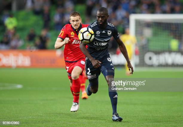 Jason Geria of the Victory and Ryan Kitto of United chase the ball during the round 21 ALeague match between the Melbourne Victory and Adelaide...