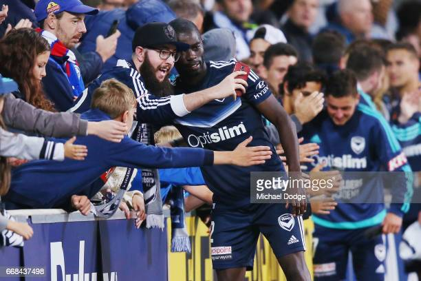 Jason Geria of the Victory celebrates the win with fans during the round 27 ALeague match between the Melbourne Victory and the Central Coast...