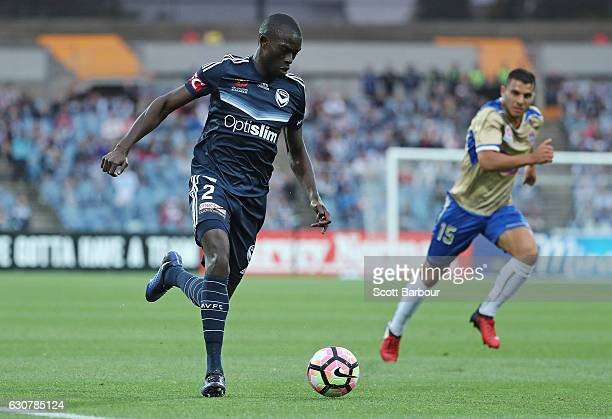 Jason Geria of the Victory competes for the ball during the round 13 ALeague match between Melbourne Victory and Newcastle Jets at Simonds Stadium on...